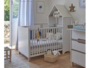 Lit bébé évolutif avec matelas Ange  Blanc et bois 70x140 cm/Opt:Sans kit évolutif