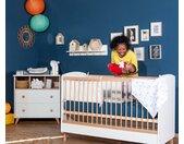 Lit bébé évolutif Pepper  Blanc et bois 70x140 cm