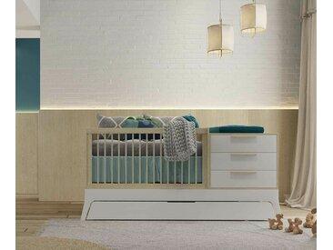 Lit bébé modulable Titou  Blanc et bois 70x140 cm