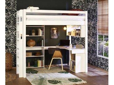 Lit mezzanine enfant Fynn  Blanc 90x190 cm