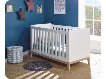 Lit bébé évolutif Riga  Blanc et bois 70x140 cm