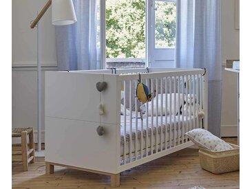 Lit bébé évolutif Ange  Blanc et bois 70x140 cm/Opt:Avec kit évolutif