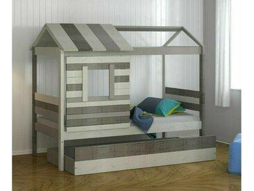 Lit enfant cabane Tim  Blanc et gris clair 90x190 cm