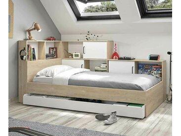 Lit ado avec rangements Mino  Blanc et bois 90x200 cm