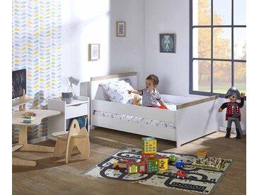 Lit enfant évolutif Jaïpur  Blanc et bois 90x140 à 90x190 cm/Opt:Avec barrière de lit