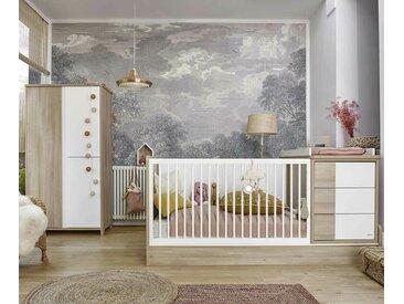 Lit bébé combiné évolutif avec matelas Lili  Bois et blanc 70x140 cm
