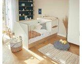 Lit bébé combiné évolutif Ange  Blanc et bois 70x140 cm