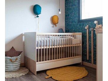 Lit bébé évolutif avec matelas Yume  Blanc et bois 70x140 cm