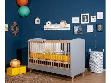 Lit bébé évolutif avec matelas Pepper  Gris et bois 70x140 cm