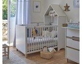 Lit bébé évolutif avec matelas Ange  Blanc et bois 70x140 cm/Opt:Avec kit évolutif