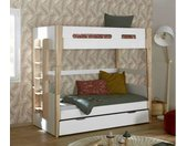 Lit superposé ado modulable Tallinn  Blanc et bois 90x190 cm