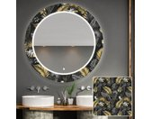 Miroir décoratif rond avec éclairage LED pour la salle de bain - Goldy Palm