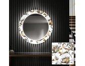 Miroir décoratif rond avec éclairage LED pour l'entrée - Golden Flowers