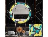 Miroir décoratif rond avec éclairage LED pour la salle à manger - Abstract Geometric