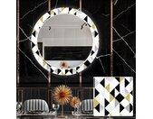 Miroir décoratif rond avec éclairage LED pour la salle à manger - Geometric Patterns