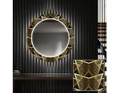 Miroir décoratif rond avec éclairage LED pour l'entrée - Glod Triangles
