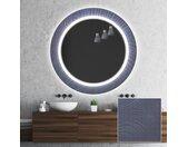 Miroir décoratif rond avec éclairage LED pour la salle de bain - Blue Drawing