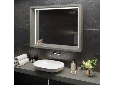 Miroir avec LED Illumination Salle de Bain - avec Cadre et étagère WoodenFrame