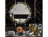 Miroir décoratif rond avec éclairage LED pour la salle à manger - Colorful Leaves