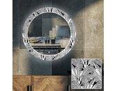 Miroir décoratif rond avec rétroéclairage LED pour le salon - Black and white jungle