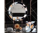 Miroir décoratif rond avec éclairage LED pour la salle à manger - Flowers