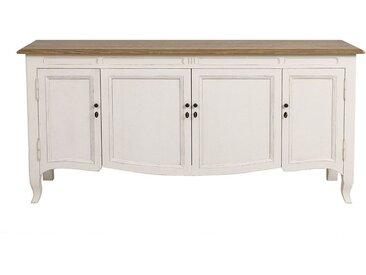 Buffet bas blanc 4 portes 1 tiroir en pin - Manoir