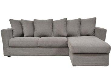 Housse pour canapé d'angle 5 places en tissu gris - Boston