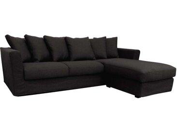 Housse pour canapé d'angle 5 places gris en tissu - Boston