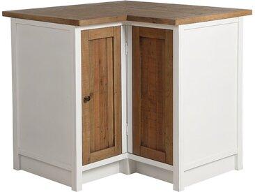Meuble de cuisine bas dangle en bois recyclé blanc - Rivages
