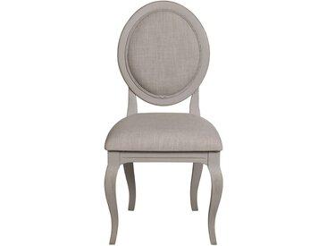 Chaise médaillon grise en épicéa massif et tissu - Provence