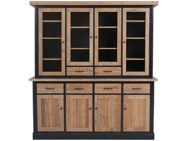 Buffet vaisselier 4 portes vitrées en bois recyclé bleu - Rivages