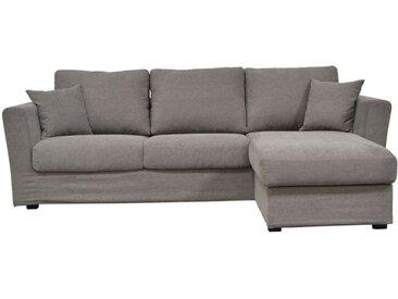 Housse pour canapé d'angle 5 places en tissu taupe - Boston