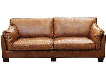 Canapé en cuir 3 places marron clair - Canberra