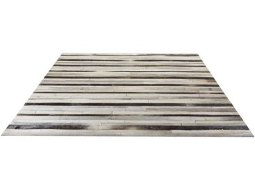 Tapis en cuir patchwork gris 200x300 - Watson