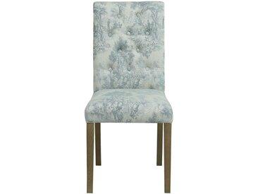 Chaise capitonnée en tissu toile de Jouy et frêne - Albane