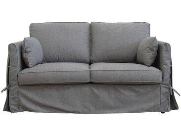 Housse pour canapé 2 places en tissu gris anthracite - Welsh