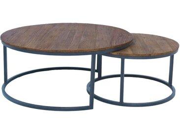 Tables basses rondes gigognes en orme et métal - Transition