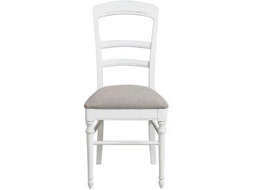 Chaise en bois blanc et tissu - Harmonie