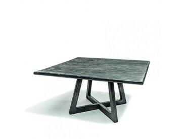 Table carrée Dennis en teck recyclé noir fumé - Gommaire   Tentation