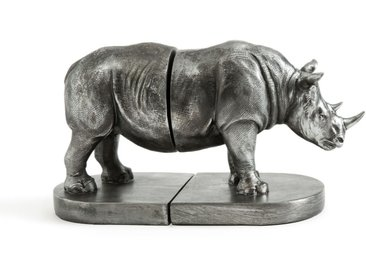 Serre-livres rhinocéros L27,5 x H15 cm Kami AM.PM Argent