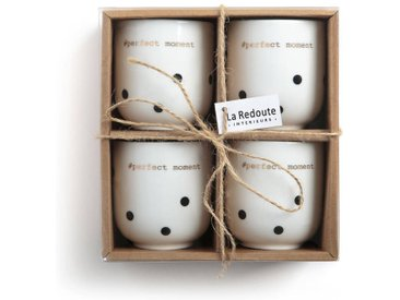Lot 4 tasses expresso porcelaine, KUBLER LA REDOUTE INTERIEURS Imprimé Pois Noir Fond Blanc
