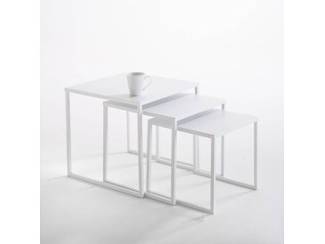 Lot de 3 tables basses gigognes en acier, Hiba LA REDOUTE INTERIEURS Blanc
