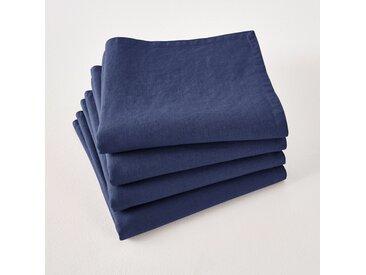 Serviettes de table lin lavé Victorine (lot de 4) LA REDOUTE INTERIEURS Bleu De Chine