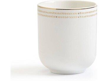 Lot de 4 tasses, ESSENTIELLE LA REDOUTE INTERIEURS Blanc - Doré
