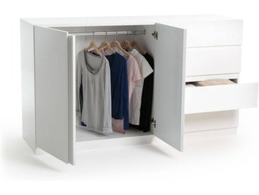 Armoire basse 2 portes penderie et 4 tiroirs LEO LA REDOUTE INTERIEURS Blanc