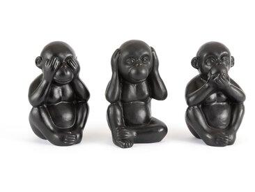 Lot de 3 objets décoratifs singes, Simia LA REDOUTE INTERIEURS Noir