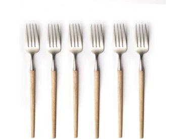 6 fourchettes frêne et inox, Emako AM.PM Frêne