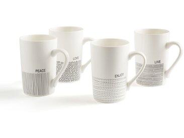 Lot de 4 tasses, Lifor LA REDOUTE INTERIEURS Noir/Blanc