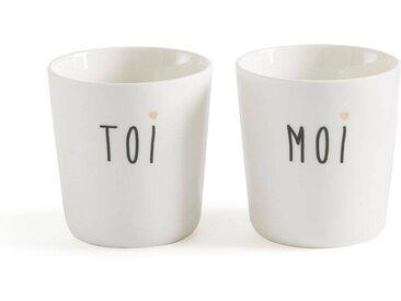 Lot 2 mugs Duetto LA REDOUTE INTERIEURS Noir/Blanc