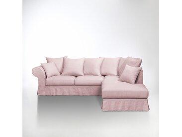 Canapé d'angle convertible, lin froissé, Adelia LA REDOUTE INTERIEURS Rose